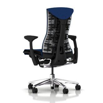 Embody Chair, Polished Aluminium, Graphite, Berry Blue